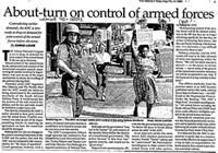 About-turn on control of armed forces