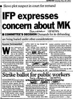 IFP expresses concern about MK