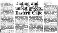 Rioting and unrest sweep Eastern Cape