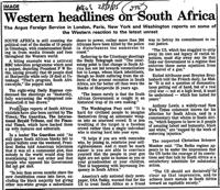 Western headlines on South Africa