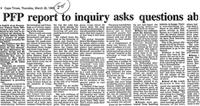 PFP report to inquiry asks questions ab
