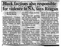 Black factions also responsible for violence in SA, says Reagan