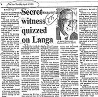 Secret wintness quizzed on Langa