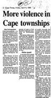 More violence in Cape townships