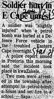 Soldier hurt in E Cape unrest