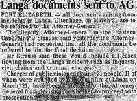 Langa documents sent to AG