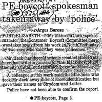 PE boycott spokesman taken away by 'police'
