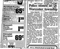 Police stoned in Worcester township