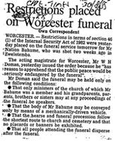 Restrictions placed on worester funeral