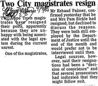 Two City magistrates resign