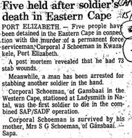 Five held after soldier's death in Eastern Cape