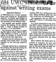 684 UWC students against writing exams