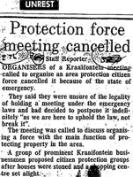 Protection force meeting cancelled