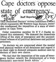 Cape doctors oppose stae of emergency