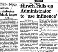 Hirsch calls on Administrator to 'use influence'