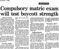 Compulsory matric exam will test boycott strenght