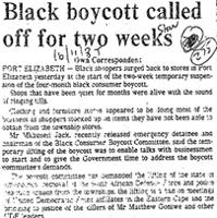 Black boycott called off for two weeks