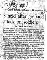 3 held after grenade attack on soldiers