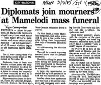 Diplomats join mourners at Mamelodi mass funeral