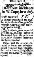 10 unrest incidents in W Cape in a day