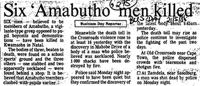 Six 'Ambutho' men killed