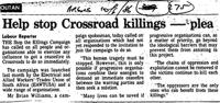 Help stop Crossroad killings - plea