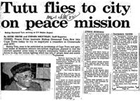 Tutu flies to city on peace mission