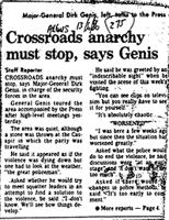 Crossroads anarchy must stop, says Genis