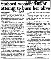 Stabbed woman tells of atempt to burn her alive