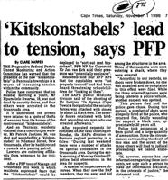 'Kitskonstables' lead to tension, says PFP