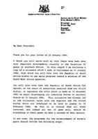 letter from the prime minister south africa to president united states