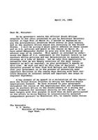 [Letter from George P. Schultz to the Honorable R.F. Botha, Minister of Foreign Affairs, South Africa]