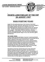 Fourth anniversary of the United Democratic Front, 20 August 1987