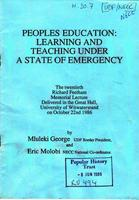 People's education: Learning and teaching under a state of emergency