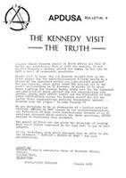 APDUSA Bulletin 9: The Kennedy visit, the truth