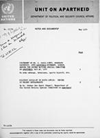 Notes and Documents - United Nations Centre Against Apartheid, No. 17/70