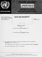 World Conference for Action Against Apartheid, Lagos, Nigeria, 22 - 26 August 1977: Apartheid Economy and the Role of Foreign Investment