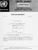 Study Conference on Belgium and the Apartheid Regime, Brussels, 21 - 22 April 1978: Resolutions and Appeals