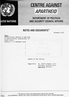 International Seminar on the Role of Transnational Corporations in South Africa: London, 2-4 November 1979: Report of the Seminar