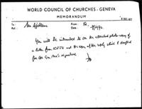 [Memorandum from F. Northam (World Council of Churches) to B. Sjollema (World Council of Churches), with attachments]
