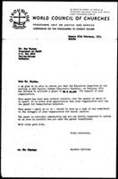 [Letter from B. Sjollema (World Council of Churches, Geneva) to S. Nujoma (South West Africa People's organization, Tanzania), February 25, 1974]
