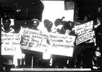 Demonstration outside the Supreme Court, Windhoek, at the start of Nkandi's Trial