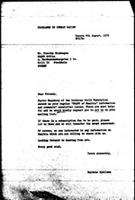 [Letter from B. Sjollema (World Council of Churches, Geneva) to T. Hishongwa (South West Africa People's organization, Stockholm)]