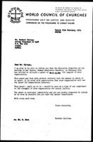[Letter from B. Sjollema (World Council of Churches, Geneva) to H. Chitepo (Zimbabwe African National Union), with attachment, February 25, 1974]