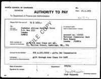 "[World Council of Churches ""Authority to Pay"" to Zimbabwe African National Union, March 27, 1975]"
