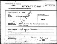 "[World Council of Churches ""Authority to Pay"" to G. Nyandoro, December 15, 1976]"