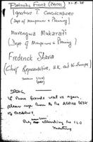 "[Handwritten note: ""Patriotic Front (ZANU)..."" August 21, 1978]"