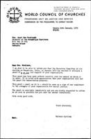 [Letter from B. Sjollema (WCC, Geneva) to J. Mondlane (Mozambique Institute, Dar es Salaam), with attachments]
