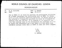 [Memorandum from C. Barbey (WCC, Geneva) to B. Sjollema (WCC, Geneva), with attachments]