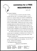 [Cover letter to CFM news and notes, No. 31 from Committee for a Free Mozambique]